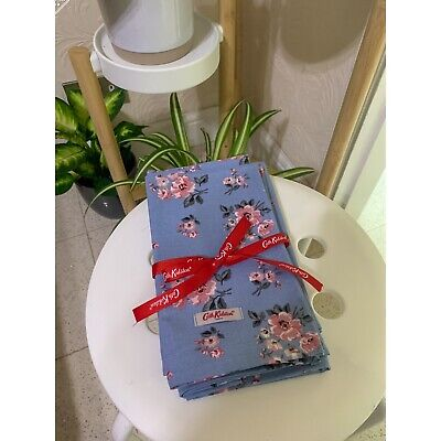 Brand New Cath Kidston Grove Bunch Blue Napkins Set Of 4 • 11£