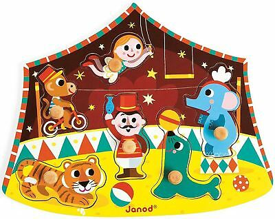 £10.59 • Buy Janod CIRCUS PUZZLE Wooden Peg Activity Toy BN