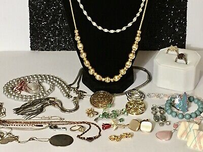 $ CDN85 • Buy 💞VINTAGE JEWELRY LOT ESTATE FIND,SIGNED UNSIGNED JEWELRY, Necklace, Rings, More
