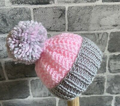 Hand Knitted 12-18 Months Baby Pink & Grey Girls Pom Pom Hat • 3.50£