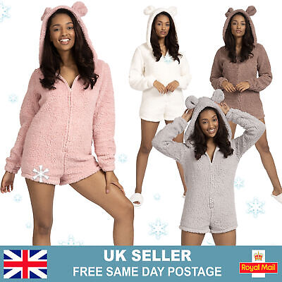 Womans Teddy Bear Hooded Pyjamas | All-In-One Sherpa Fleece One Piece Romper Pjs • 16.95£