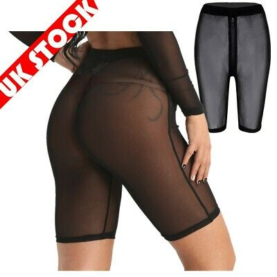 Women Fishnet Mesh See Through Slim Fit Leggings  High-waisted Short Hot Pant UK • 8.35£