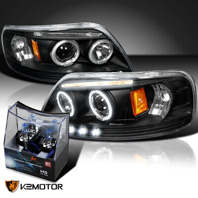 $118.01 • Buy For 1997-2003 Ford F150 Black LED Halo Projector Headlights+H3 Halogen Bulbs