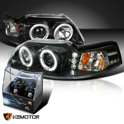 $114.40 • Buy For 1999-2004 Ford Mustang Black LED Halo Projector Headlights+H1 Halogen Bulbs