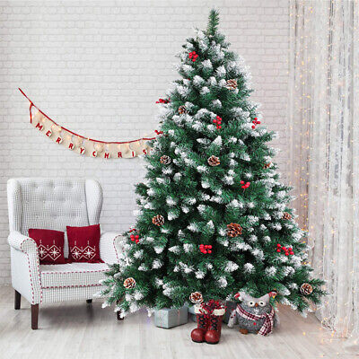 6/7ft Artificial Christmas Tree Snow Frosted With Cones Berries Xmas Decoration • 51.29£
