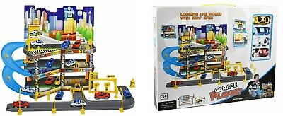 3 Level Kids City Car Park Toy Garage Petrol Station Play Set + 4 Cars Vehicles • 18.99£