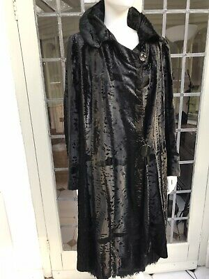 Antique 1920s Art Deco Flapper Brushed Velvet Chenille Opera Coat Gatsby Black • 295£