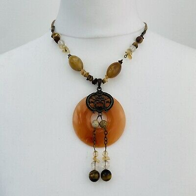 Costume Jewellery Agate Glass & Tigers Eye Pendant Necklace • 10.99£