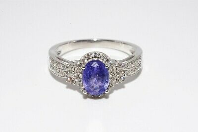 1.71ct Natural Tanzanite & White Topaz Cocktail Silver Ring Size 8 • 7.69£