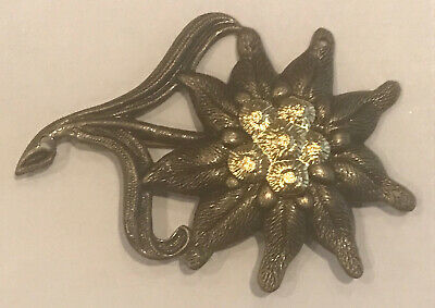WWII German Army Metal Officers Edelweiss Badge. Mountain Corps. Edelweiss. • 5.50£