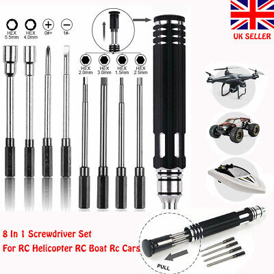8 In 1 Hex Screwdrivers Repair Tool Kit Set For RC Helicopter Drone Car Boat Toy • 10.59£