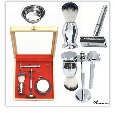 Mens 4 PCS Shaving Set Double Edge Safety Brush Stand Bowl Kit Gift Box Silver • 29.95£