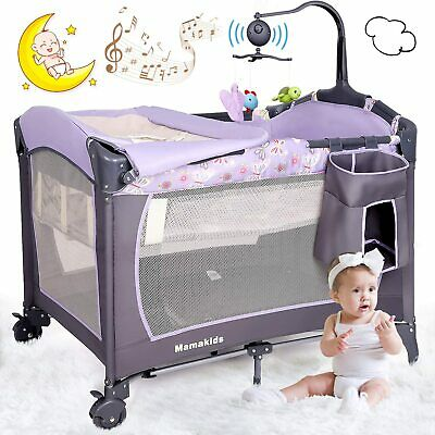 Portable Baby Travel Cot Crib Bassinet Bed Playpen Infants With Mattress & Music • 61.99£