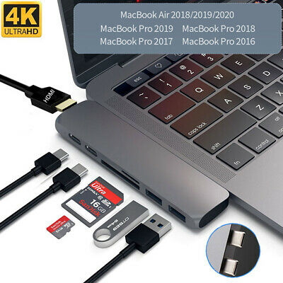 AU29.99 • Buy 7in1 Dual USB-C SD Card Reader Bar HDMI Charger Hub Adapter For MacBook Pro Air