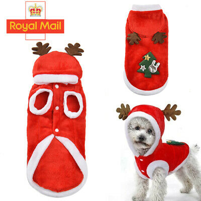 Dog Cat Christmas Outfit Costumes Reindeer Hoodie Jacket Pet Xmas Clothes Coat • 3.99£