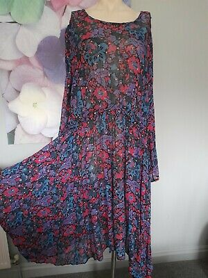 Monsoon Ladies Multi-coloured Floral Print Dress Size Approx 16 • 9.50£