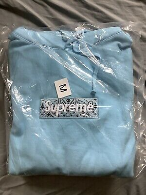 $ CDN380.93 • Buy Supreme Bandana Box Logo Hoodie Light Blue - Medium