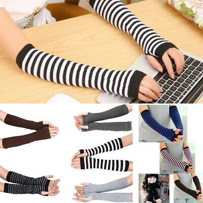 Women Cute Protection Arm Warmer Long Fingerless Stretchy Gloves Sleeves Mittens • 2.95£