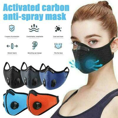 Reusable Washable Anti Pollution Face Mask PM2.5 Two Air Vent With Filter UK • 4.49£