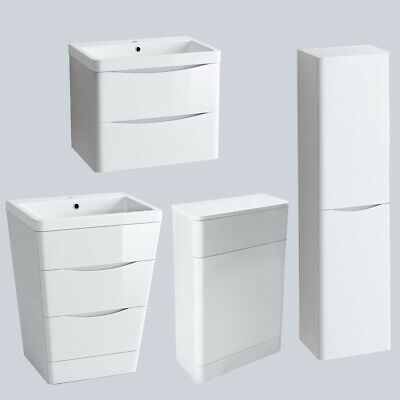 Bathroom Vanity Unit Cabinet Furniture Toilet Basin Sink Wall Hung Storage White • 173.95£