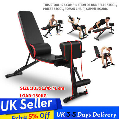 Heavy Duty Weight Bench Gym Workout Exercise Incline Decline Sit Up Adjustable • 69.99£