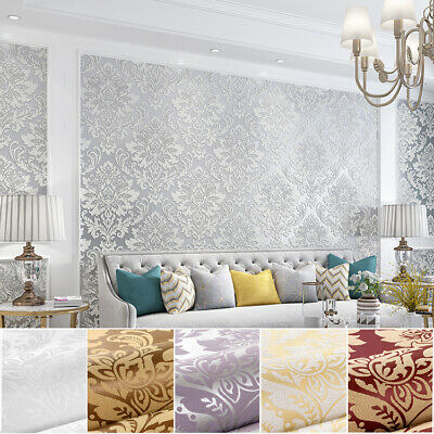 10M Luxury European Damask 6 Colors Embossed Textured Non-woven Wallpaper Roll • 18.99£