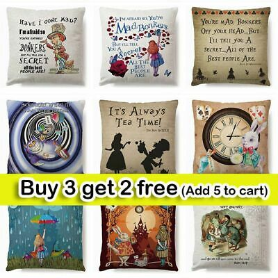 18  ALICE IN WONDERLAND Cushion Covers Pillow Case Cotton Square Vintage Gift UK • 4.74£