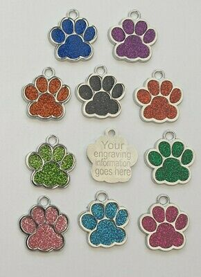 Personalised Engraved Quality Glitter Paw Print Dog Tag Pet Tags Reflective 25mm • 2.39£
