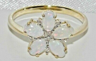 9ct Yellow Gold On Silver Natural Opal & Diamond Cluster Ring Size S • 35£