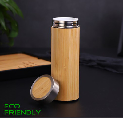 Bamboo Mug Thermos Ceramic Lined Insulated Thermal  Vacuum Flask Eco Friendly • 15.85£