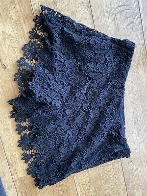 Zara Basic Black Lace Shorts With Zip Side And Pockets Size S • 3£
