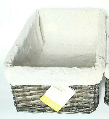 Willow Wicker Storage Basket. Hamper Stackable  Baskets Grey. Tesco. Large • 6£