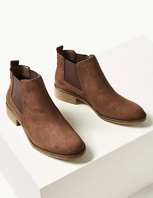 M&S COLLECTION Chelsea Block Heel Ankle Boots UK Size 6 • 19.99£