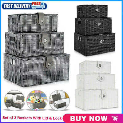 SET OF 3 Resin Wicker Woven Storage Baskets Hamper Box With Lid + Lock UK • 13.99£
