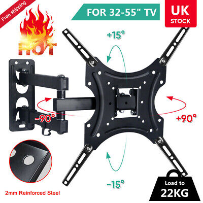 TV Wall Bracket Mount Tilt & Swivel For 32 37 40 42 43 55 50 55 Inch Monitor LCD • 11.99£