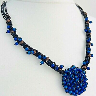 Costume Jewellery Blue Glass Bead Leather Cord Statement Necklace  • 11.99£