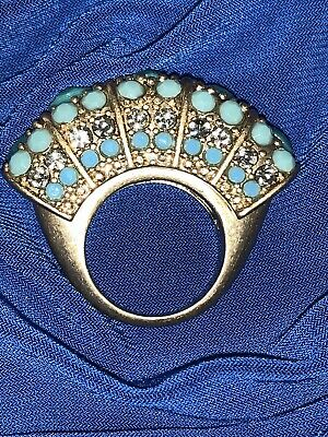 $ CDN32.01 • Buy Rare Lia Sophia Designer Signed Turquoise Color Ring Sz 6 Intricate Bead Detail
