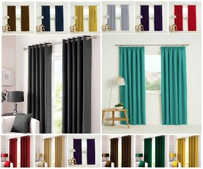 Thermal Blackout Curtains Ready Made Eyelet Ring Top Or Pencil Pleat + Tie Backs • 14.99£