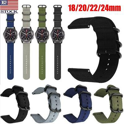 $7.78 • Buy Soft Woven Nylon Watch Band Sport Strap 18/22/20/24mm Military-Style Replacement