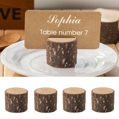 £5.82 • Buy 10pcs Wooden Table Name Place Card Holder Number Menu Wedding Party Rustic Decor
