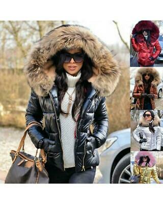 UK Womens Winter Warm Quilted Padded Parka Short Fur Collar Hooded Coat Jacket • 30.98£