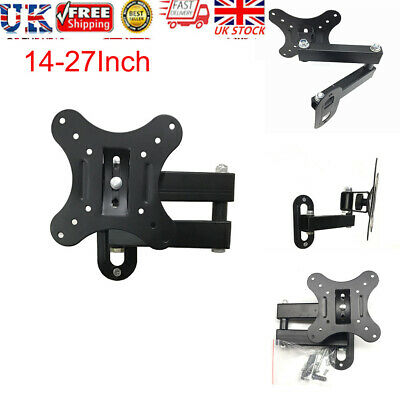 Swivel TV Wall Mount Bracket For 14-27 Inch Small LCD LED Monitor UK STOCK • 8.99£
