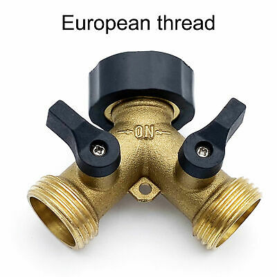 3/4  (y) Brass Hose Splitter Garden Water Pipe Connector 2way Ball Valve Adapter • 6.79£