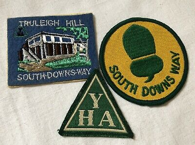 Vintage Sew-on Cloth Youth Hostel Assoc Badges Truleigh Hill South Downs Way YHA • 15£