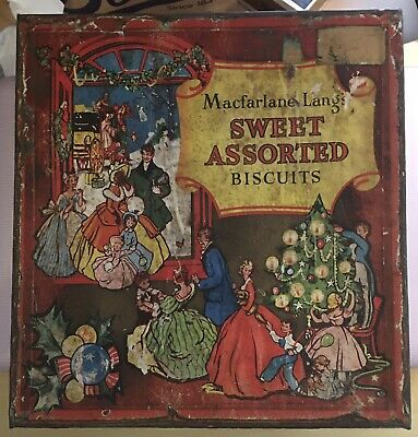 Vintage Macfarlane Lang's Large Sweet Assorted Biscuits Collectable Lidded Tin • 19.99£