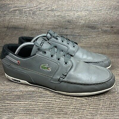 Lacoste Dreyfus QS Gray Black Leather Mens Size 9 Low Boat Shoes Sneakers • 24.11£