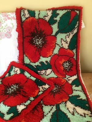 Handmade Small Door Rug With Matching Square,design Of Poppies. • 5£