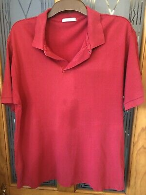MS L Polo Shirt Red 100% Cotton M&S Marks And Spencer • 3.99£