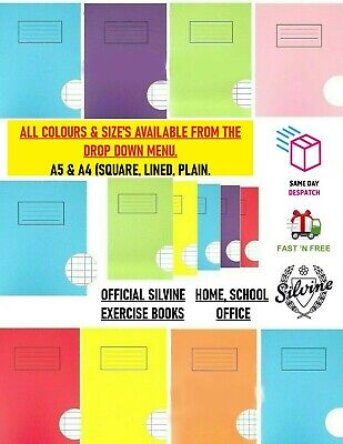 Silvine A4 A5 Exercise Books 80 Pages School Notebooks Class Children Homework • 1.89£