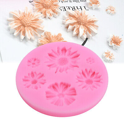 Daisy Flowers Shape Silicone Mold 3D Fondant Cake Ice Chocolate Decorating Mould • 2.39£
